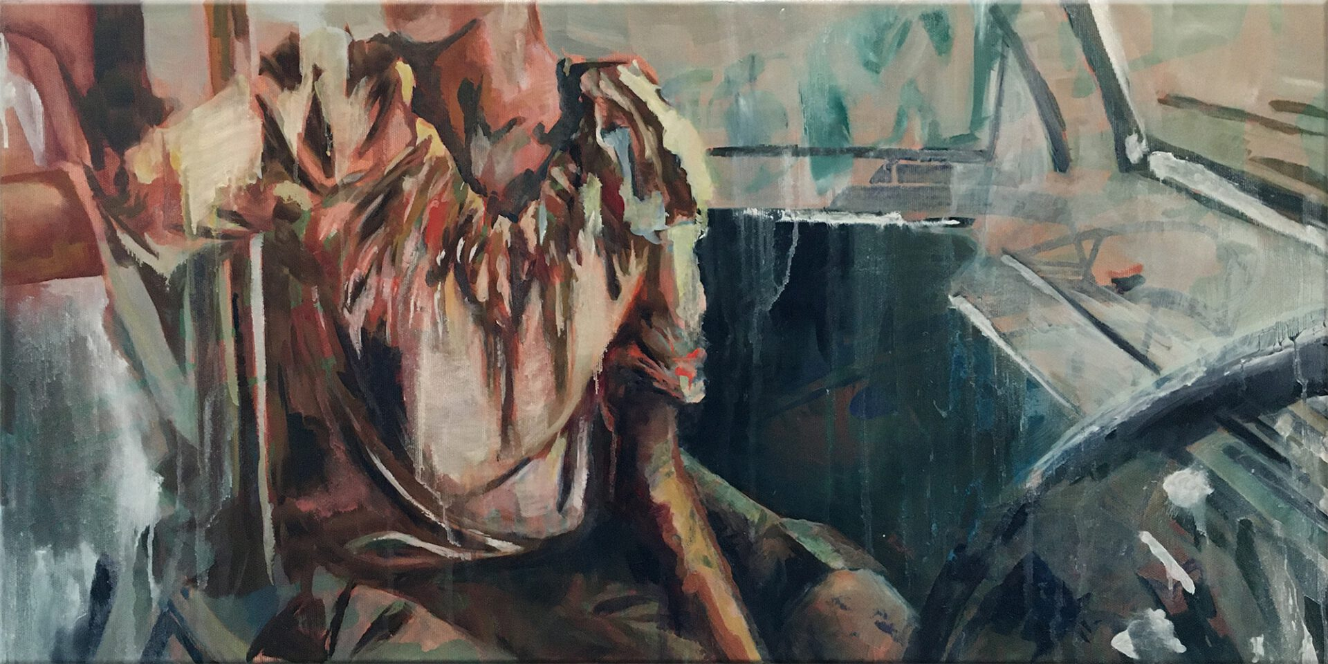 er was een boot (dame in blouse)   40 x 80 cm